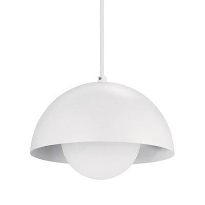 1-Light Amelia Plug-In Pendant with Glass Shade Matte White - Globe Electric