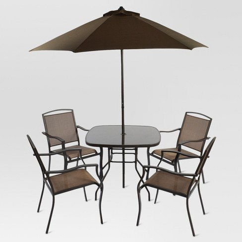 6pc Metal Square Patio Dining Set With Umbrella Brown Threshold