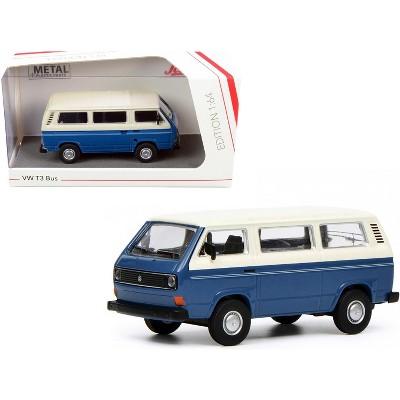 Volkswagen T3 Bus Dark Blue and White 1/64 Diecast Model by Schuco