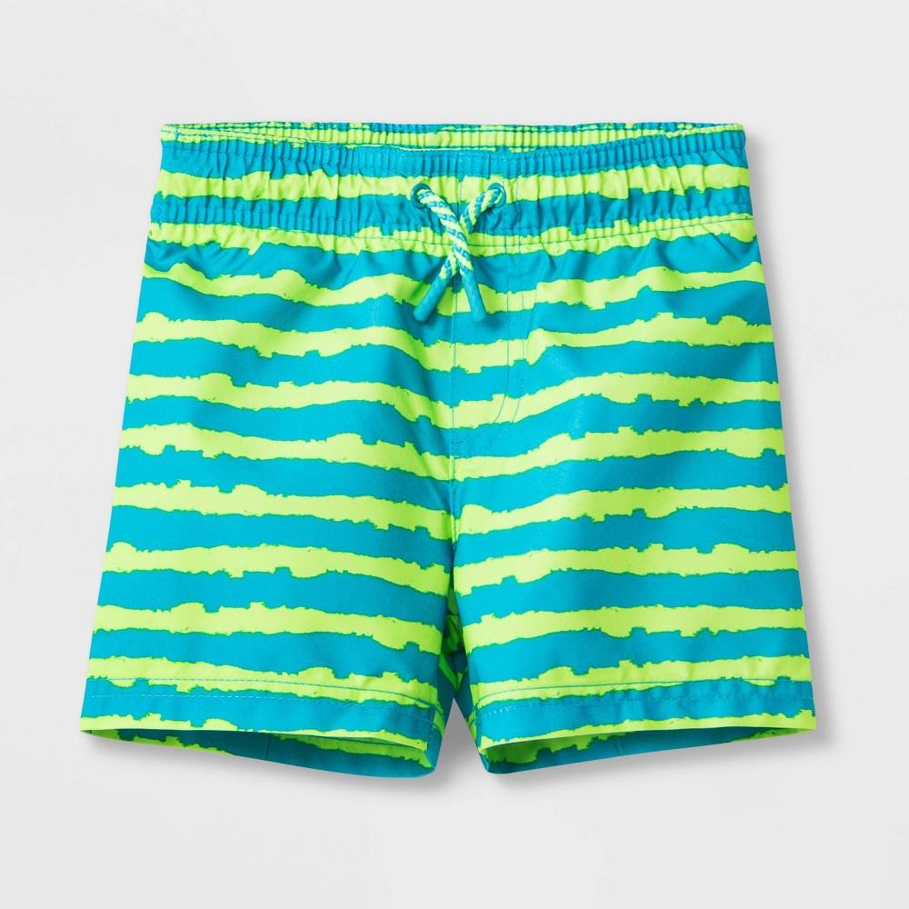 Image of Baby Boys' Stripe Swim Trunks - Cat & Jack Green 12M, Boy's
