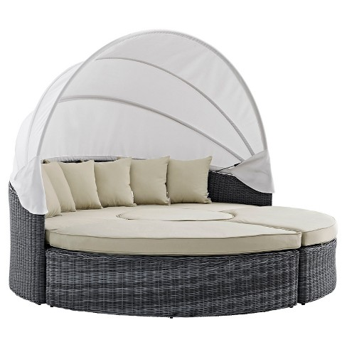 Summon Canopy Outdoor Patio Sunbrella® Daybed in Antique Canvas Beige - Modway - image 1 of 5