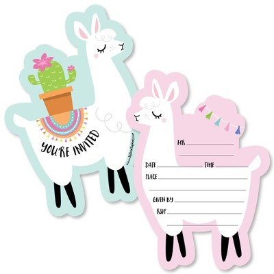 Big Dot of Happiness Whole Llama Fun - Shaped Fill-In Invites - Llama Fiesta Baby Shower or Birthday Party Invite Cards with Envelopes - Set of 12