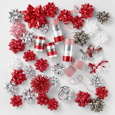 Red/White/Silver Bow & Ribbon Kit- Wondershop™