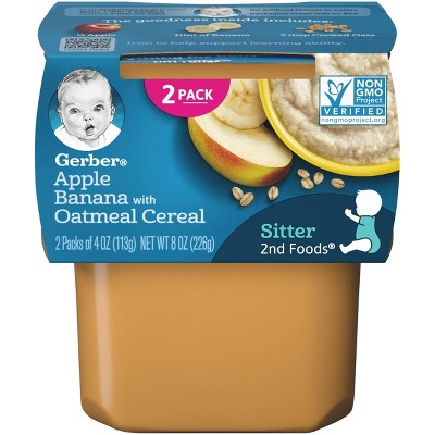 Gerber Sitter 2nd Foods Apple Banana with Oatmeal Cereal Baby Food Tubs - 2ct/4oz Each