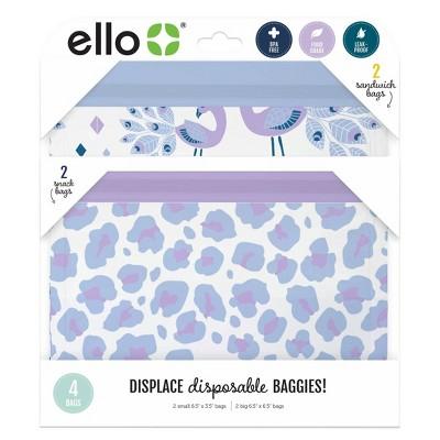 Ello 4pk Zip Food Storage Bags - Peacok/Leopard