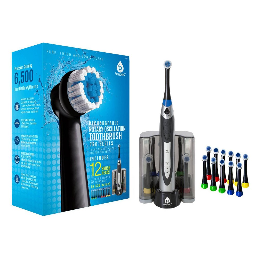 Image of Pursonic Rechargeable S330 Rotary Toothbrush with Bonus Brush Heads - 12ct