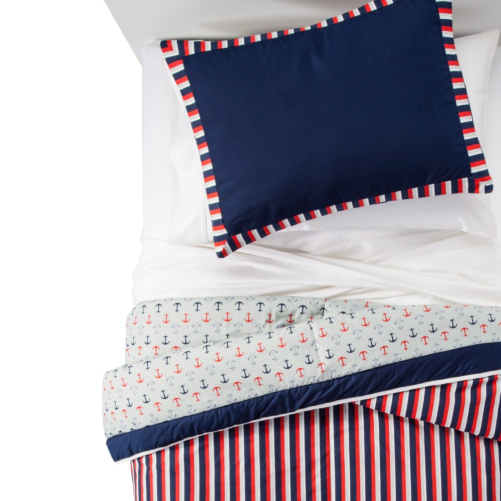 Anchors Away Comforter Set (Twin) Red - Pam Grace Creations