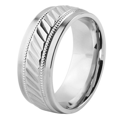 Men's West Coast Jewelry Stainless Steel Grooved Milgrain Band Ring