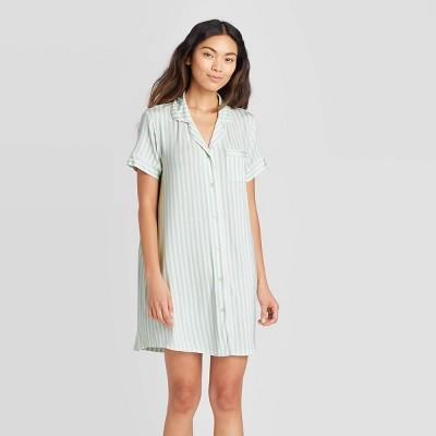 Women's Striped Short Sleeve Beautifully Soft Notch Collar Nightgown - Stars Above™ Mint L