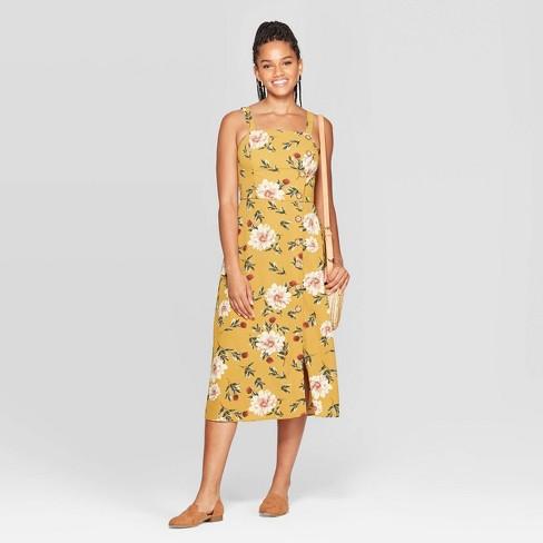 Women's Floral Print Sleeveless Square Neck Side Button Midi Dress - Xhilaration™ Mustard - image 1 of 3