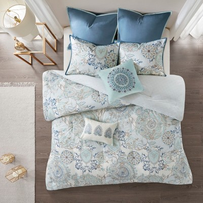 8pc Queen Lian Cotton Printed Reversible Comforter Set Blue