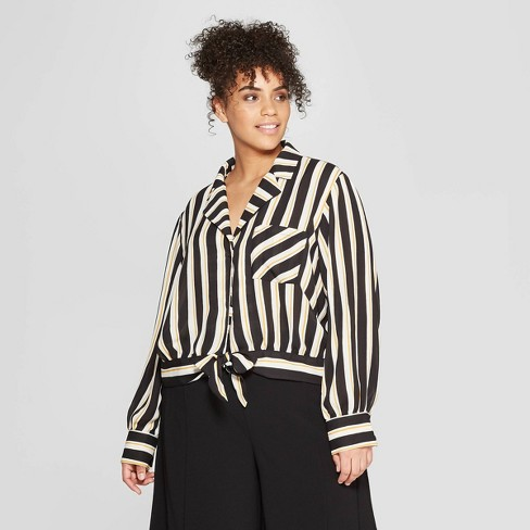 Women's Plus Size Striped Long Sleeve V-Neck Knotted Waist Button-Down Shirt - Who What Wear™ Black/White 4X - image 1 of 3
