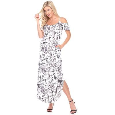 Women's Cold Shoulder Tie-Dye Maxi Dress - White Mark