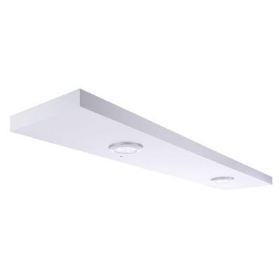 """48"""" x 1.5"""" Stockholm Aberg Floating Shelf with Two LED Lights White - Kiera Grace"""