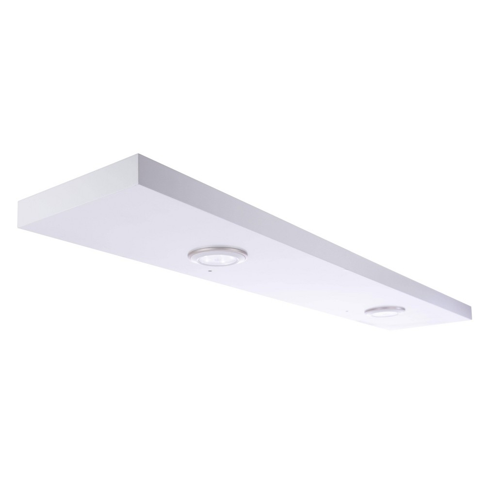 """Image of """"47.2"""""""" x 1.5"""""""" Stockholm Aberg Floating Shelf with Two LED Lights White - Kiera Grace"""""""