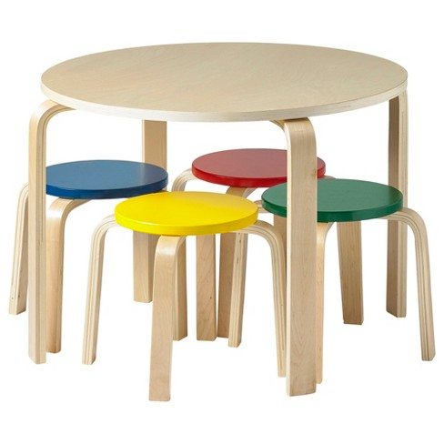 ECR4Kids Bentwood Table and Stool Set for Kids, 5-Piece Set - image 1 of 4