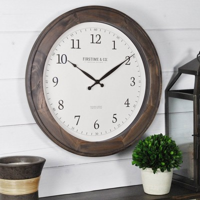 "16"" Barnes Wall Clock Rustic Brown - FirsTime"