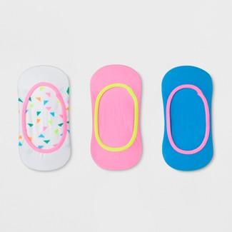 Girls' 3pk Liner Socks - Cat & Jack™ White L