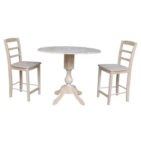 "36.3"" Ray Round Counter Height Table with Two Madrid Stools Blue - International Concepts - image 1 of 4"