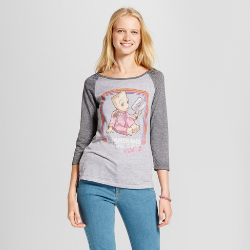 Women's 3/4 Sleeve Guardians of the Galaxy Groot Raglan Graphic T-Shirt (Juniors') - Gray - image 1 of 2
