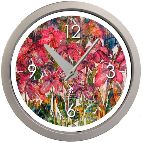 """14.5"""" Artist Series Diane Rakocy Full Bloom Decorative Clock Silver - The Chicago Lighthouse - image 1 of 3"""