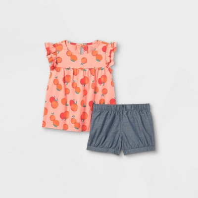 Toddler Girls' 2pc Oranges Ruffle Tank Top and Bottom Set - Just One You® made by carter's Pink