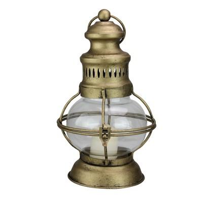 """Raz Imports 10"""" Golden Antique Style Weathered Glass Christmas Candle Lantern"""