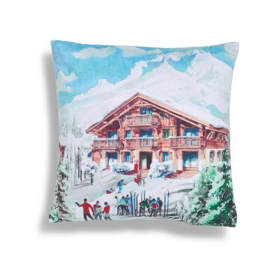 """18""""x18"""" Christmas Lodge Square Throw Pillow Red - Sure Fit"""
