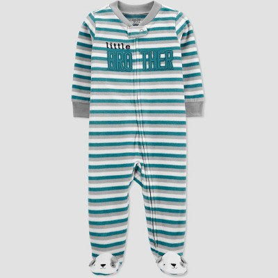 Baby Boys' Lil Brother Striped Fleece Sleep N' Play - Just One You® made by carter's Teal 3M