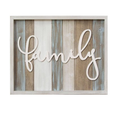 Stratton Home Decor 16 x20  Rustic  Family  Wood Decorative Wall Art Set White