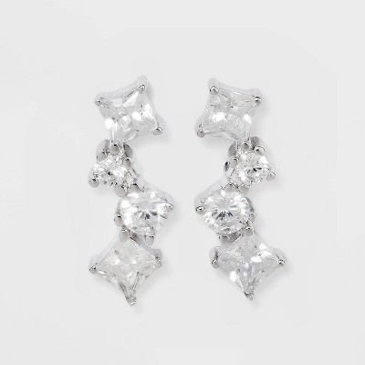 Prong Set Pave Cubic Zirconia Cluster Stud Earrings - A New Day™ Silver
