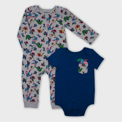 Baby Boys' Marvel Heroes 2pc Romper Set - Gray/Navy 6-9M