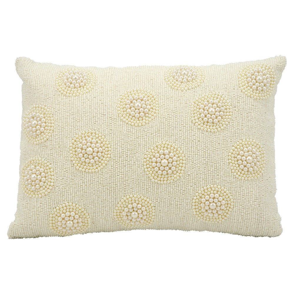 """Image of """"Pearl On Seed Beads Throw Pillow Ivory (10""""""""x14"""""""") - Mina Victory, White"""""""