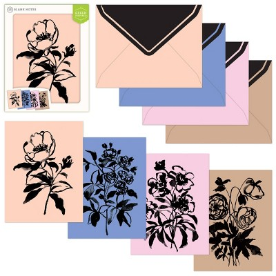 16ct Assorted Blank Note Cards Painted Flowers