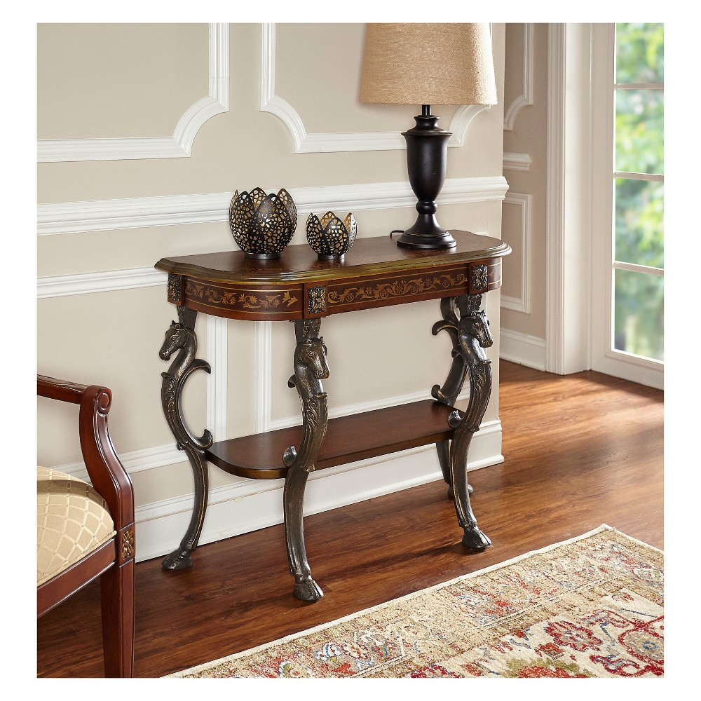 Wyatt Console Table with 4 Reeded Legs and Lower Shelf Aged Mahogany (Brown) - Powell Company