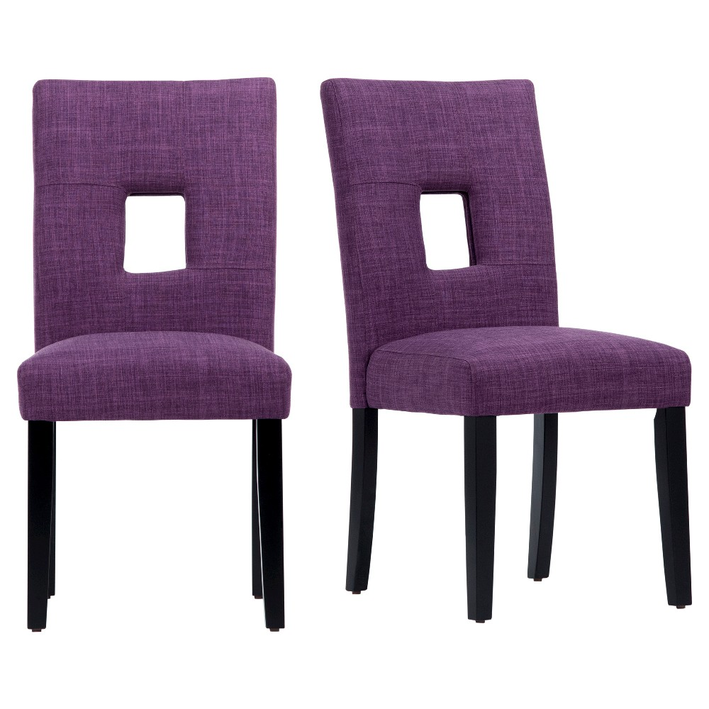 Phelan Keyhole Dining Chair - Purple (Set of 2) - Inspire Q