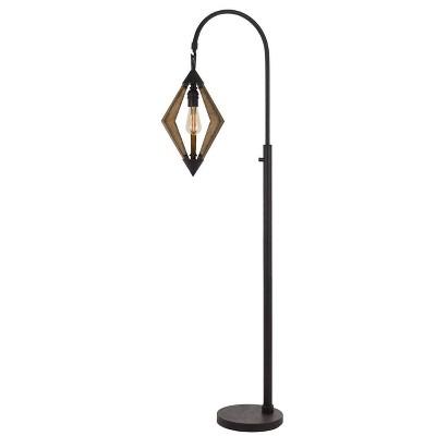 "67"" Metal/Pine Valence Wood Down Bridge Floor Lamp (Includes Light Bulb) Black - Cal Lighting"