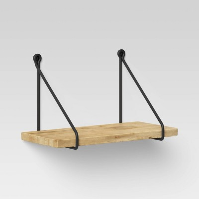 """12"""" x 6"""" Wood Wall Shelf with Hanging Wire Natural/Black - Threshold™"""