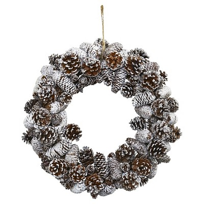 Snowy Pine Cone Wreath - Nearly Natural