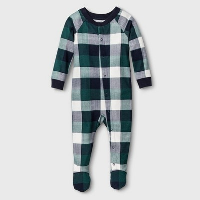 Baby Plaid Union Suit - Green 6-9M