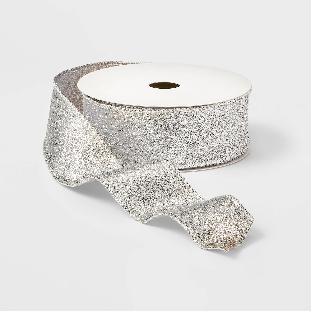 "Image of ""1.5"""" Ombre Glitter Ribbon Silver and Champagne 21ft - Wondershop , Silver Gold"""