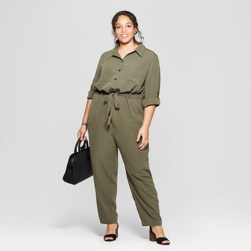6fe99b14444 Women s Plus Size Utility Jumpsuit - Ava   Viv™ Olive 1X   Target
