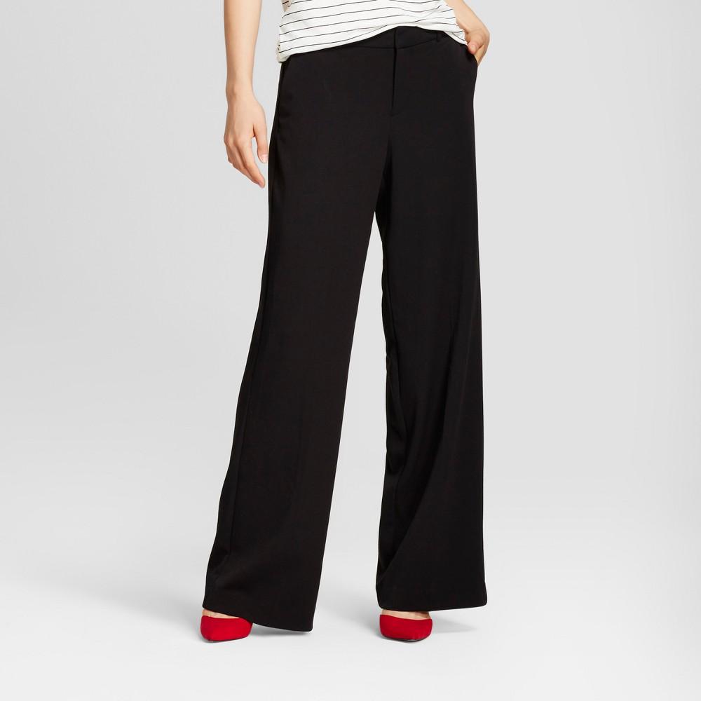 Women's Wide Leg Bi-Stretch Twill Pants - A New Day Black 0L, Size: 0 Long