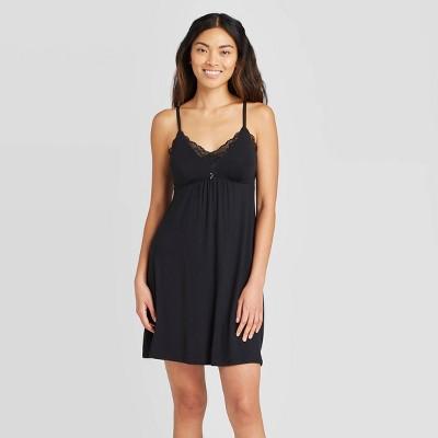 Women's Beautifully Soft Lace Trim Nightgown - Stars Above™ Black XL