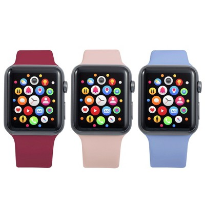 Insten 3-Pack Soft TPU Rubber Replacement Band for Apple Watch 42mm 44mm All Series SE 6 5 4 3 2 1 (Pink Sand/Lilac Purple/Burgundy Red)