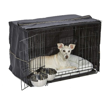 MidWest Homes For Pets iCrate Medium Sized Dog, Puppy, Cat, and Pet Crate/Kennel Kit with Cover, Fleece Bed, 2 Food/Water Bowls, and Drop Pan, Black