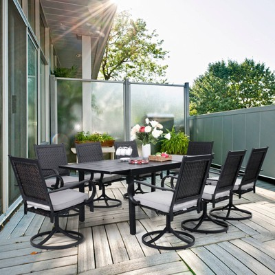 9pc Patio Dining Set with 360 Swivel Chairs with Cushions and Rectangle Concertina Steel Table - Captiva Designs
