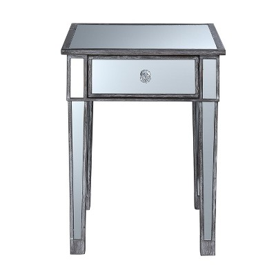 Gold Coast Mirrored End Table With Drawer Weathered Gray   Johar Furniture by Johar Furniture