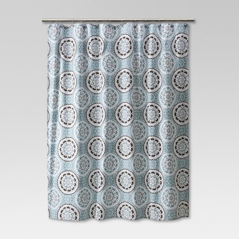 Medallion Shower Curtain Blue Brown