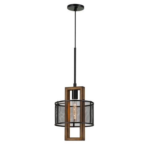 """Monza Wood Chandelier With Mesh Shade Brown 5.6""""x2.2"""" - Cal Lighting - image 1 of 2"""